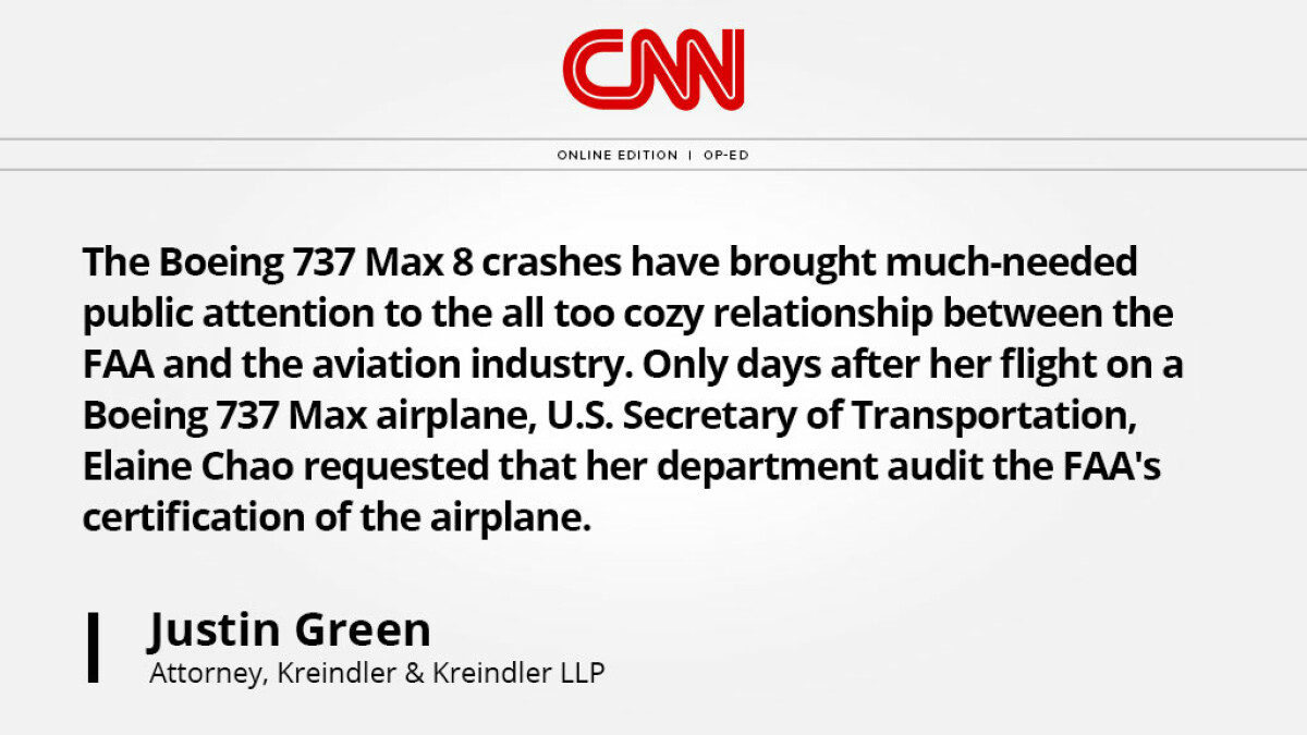 Thumbnail of a CNN article quote by Justin Green on the Boeing 737 Max crash.
