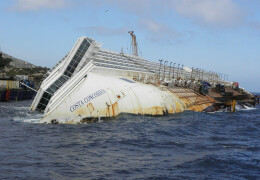 Photo of the Costa Concordia half submerged off the coast of the tiny Tuscan island of Giglio, Italy.