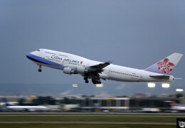 Photo of a China Airlines Boeing 747 taking off a runway in Taiwan.