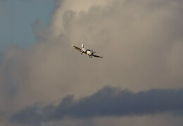 Photo of a Socata TBM 700 with wheels down and clouds in the background.