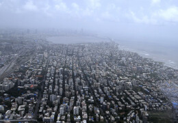 Aerial photo of the densely populated Mumbai.