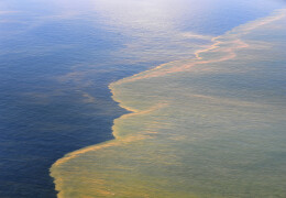 Aerial photograph of the bp oil spill in the Gulf of Mexico.