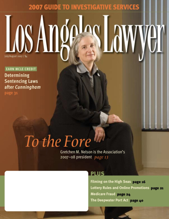 Los Angeles Lawyer magazine with Gretchen Nelson on the cover.