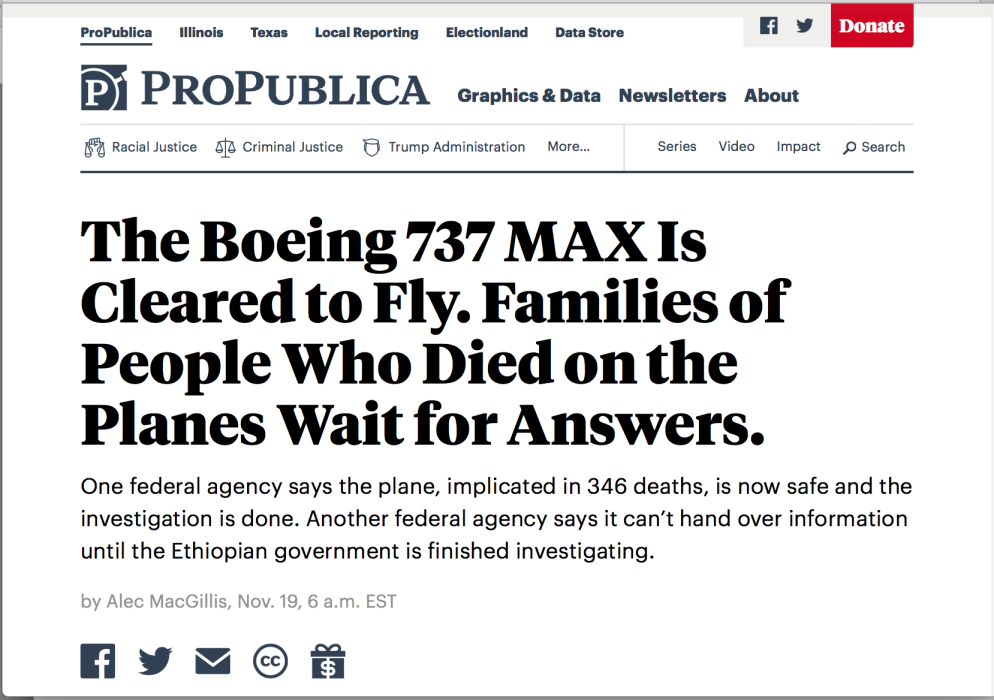 Propublica thumbnail of article about Boeing 737 MAX cleared to fly