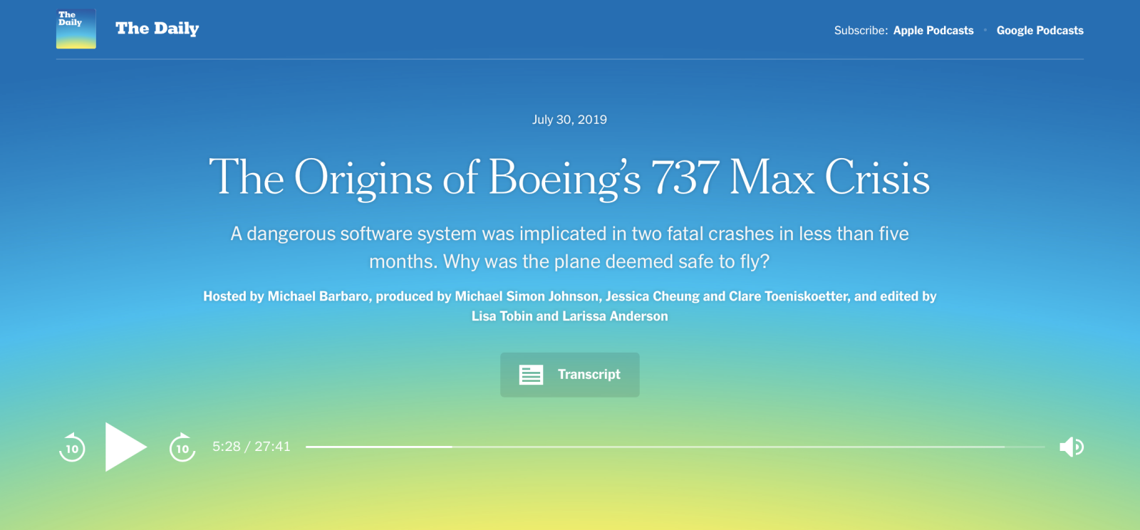 Attorney Justin Green in the New York Times' podcast The Origins of Boeing's 737 MAX Crisis
