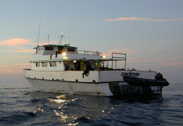 Photo of MV Conception scuba boat on the water.