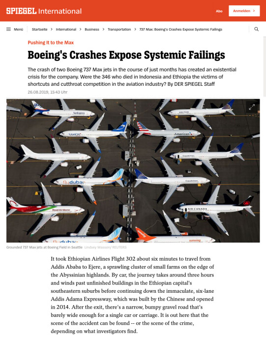 Thumbnail of Der Spiegel International article Pushing it to the Max Boeing's Crashes Expose Systemic Failings