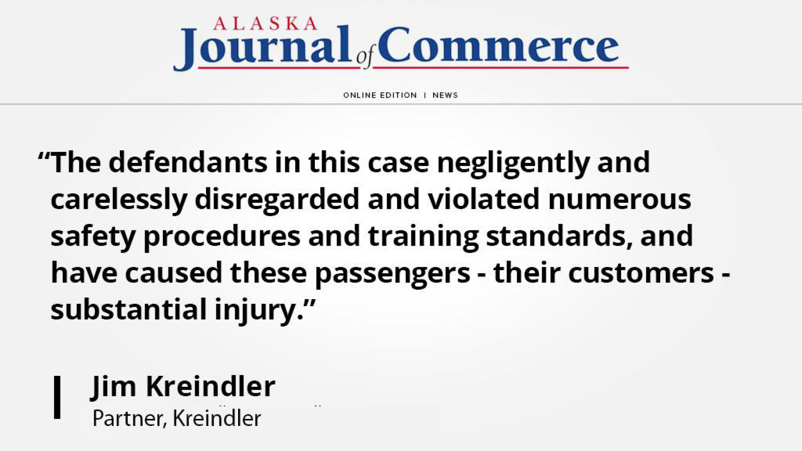 Partner Jim Kreindler discusses liability issues in Alaska Airlines Flight's loss of cabin pressure