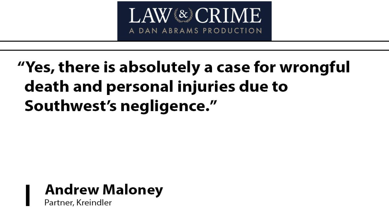 Wrongful death charge against Southwest is justified, says attorney Andrew Maloney