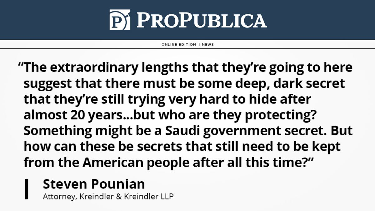 Thumbnail of a Propublica article featuring a quote on the 911 Families v KSA lawsuit.