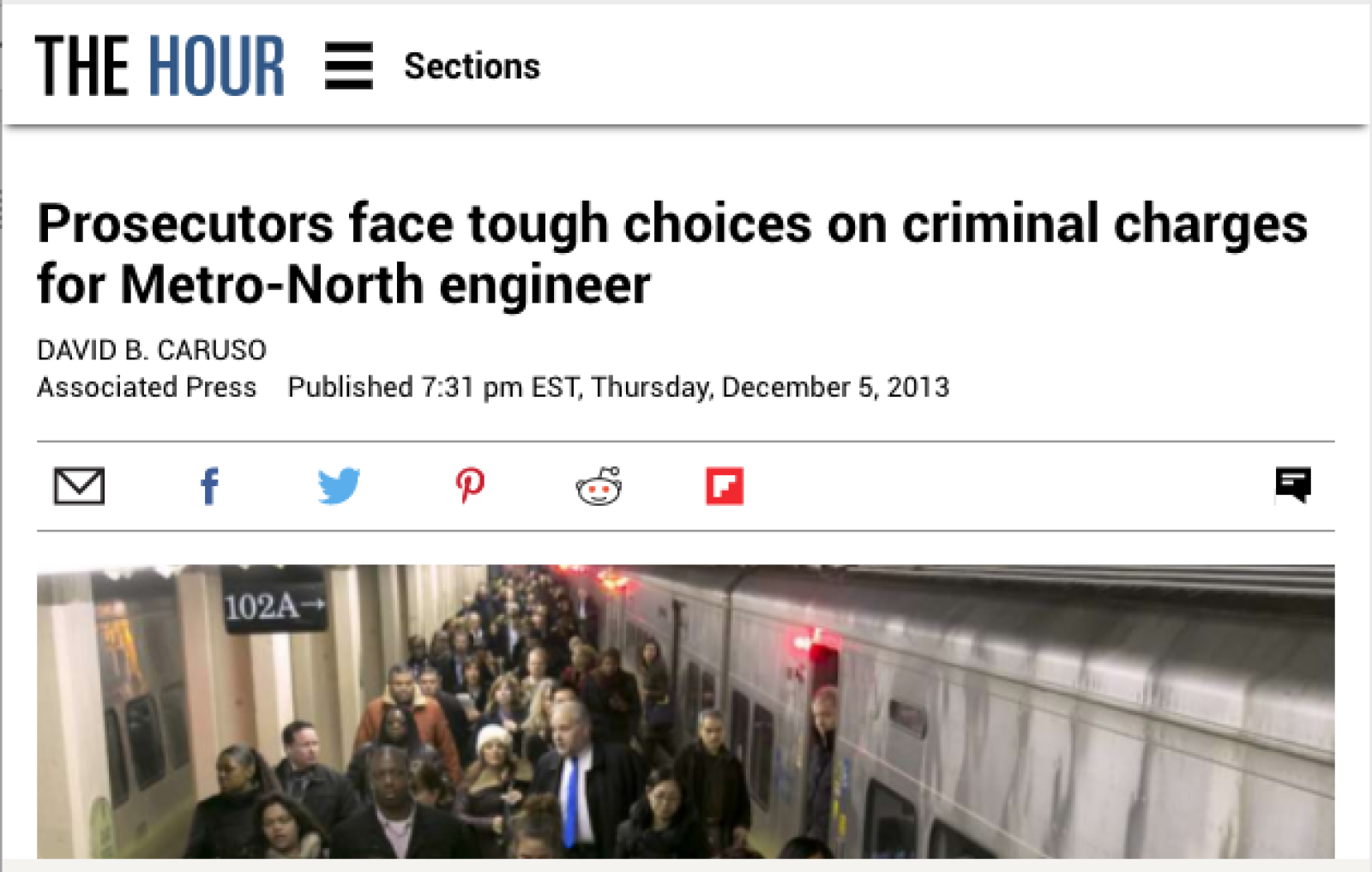 Kreindler attorney David Cook quoted in The Hour regarding the Metro-North crash