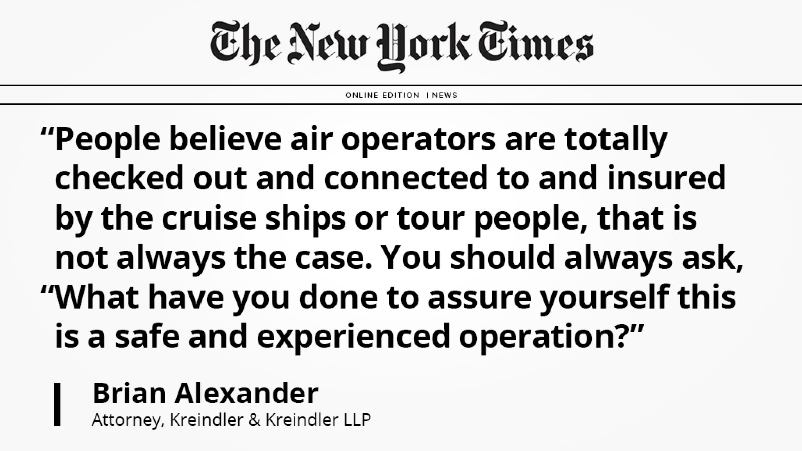 Aviation attorney Brian Alexander speaks with The New York Times regarding safe travel