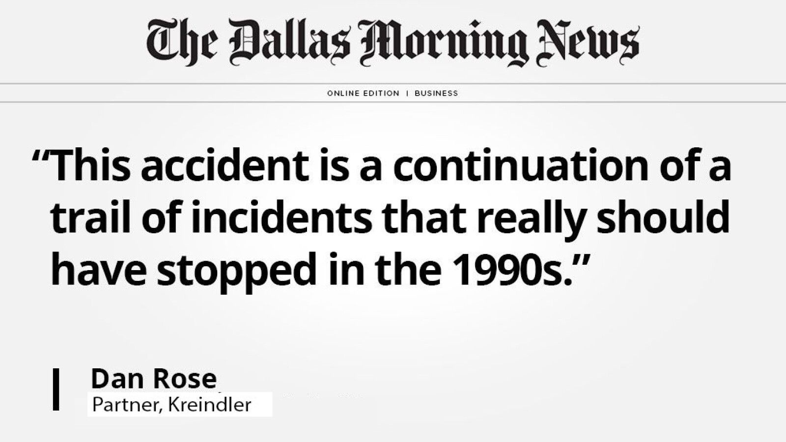 Kreindler partner Dan Rose talks about the legacy of accidents leading up to Southwest Flight 1380