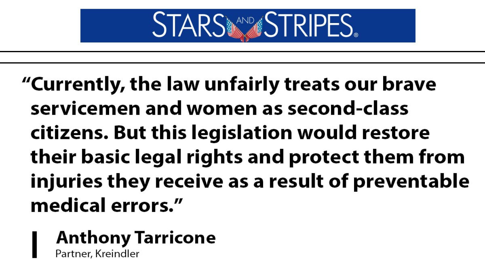 Attorney Anthony Tarricone defends service members' rights after suffering medical errors