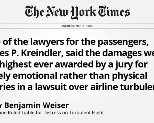 Kreindler Wins Highest Award for Emotional Injuries for Victims of American Airlines Flight 58 thumbnail