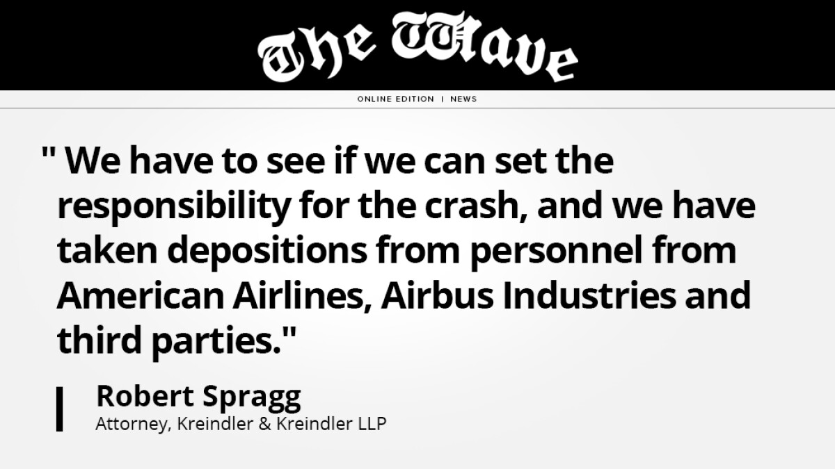 Thumbnail of The Wave article with a quote from Rob Spragg regarding AA 587 crash.